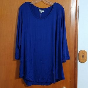 NWT JM Collection bright sapphire curved hem top